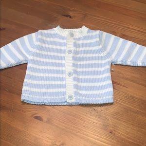 NWOT Beautiful Light Blue & White Button Sweater